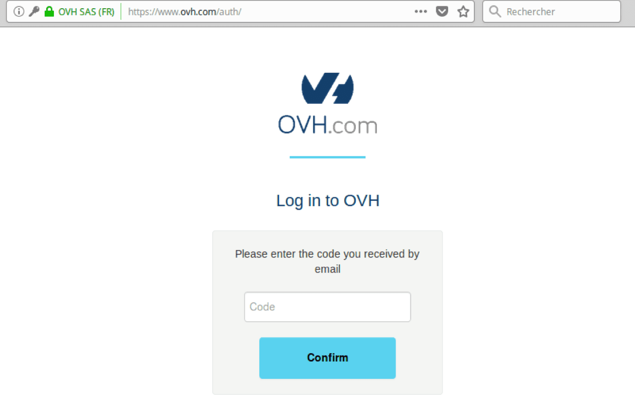 An unusual login attempt detected by our algorithm: two-factor authentication is requested.