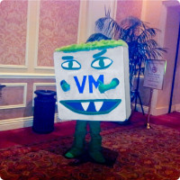 "The ""VM Monster"", VMware's mascot was also there."