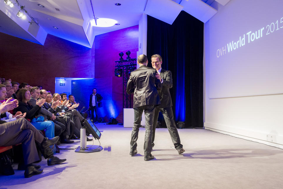 Laurent Allard, the group's CEO, got up on stage, followed by Alexandre Morel, Vice President of Sales and Marketing.